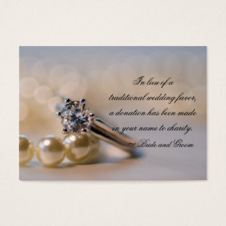 Diamond Ring and Pearls Wedding Charity Favor Card