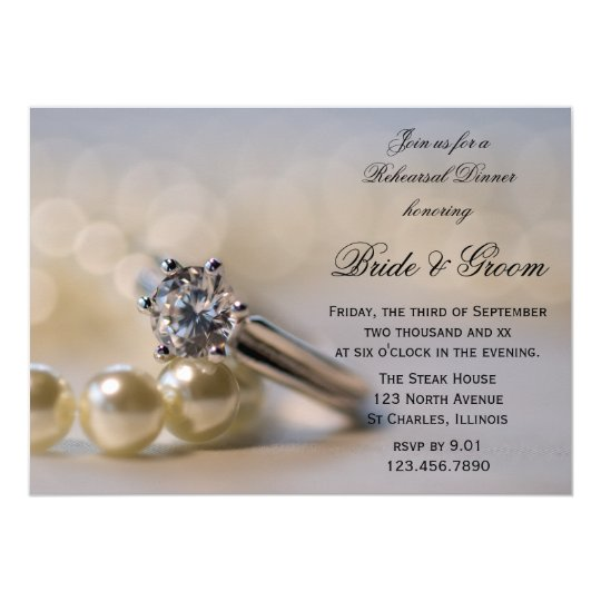 Diamond Ring and Pearls Wedding Rehearsal Dinner Card