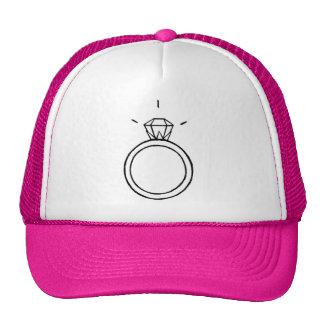 Diamond Ring Baseball Cap in HOT PINK Hat