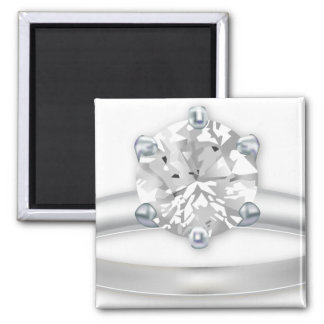Diamond Ring Bling Clipart Graphic Square Magnet