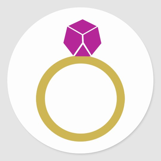 Diamond ring classic round sticker