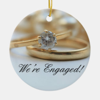 Diamond ring engagement announcement christmas ornament