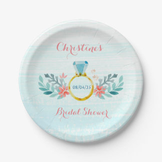 Diamond Ring Floral Bridal Shower 7 Inch Paper Plate