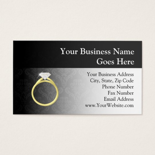 Diamond Ring on Black Business Card