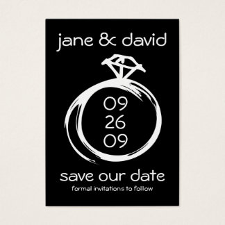 Diamond Ring Save The Date Business Card