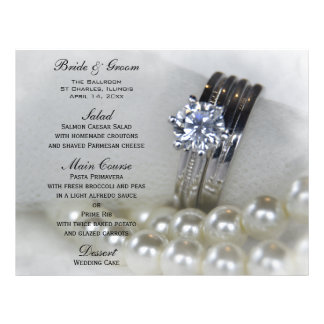 Diamond Rings and Pearls Wedding Menu 21.5 Cm X 28 Cm Flyer
