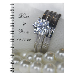 Diamond Rings and Pearls Wedding Spiral Notebook