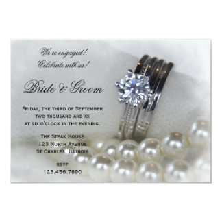 Diamond Rings and White Pearls Engagement Party 13 Cm X 18 Cm Invitation Card