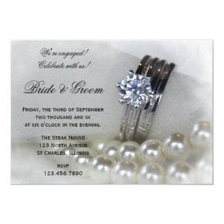 Diamond Rings and White Pearls Engagement Party Card