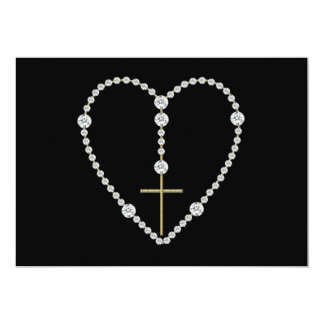 Diamond Rosary - Hail Mary Full of Grace 13 Cm X 18 Cm Invitation Card