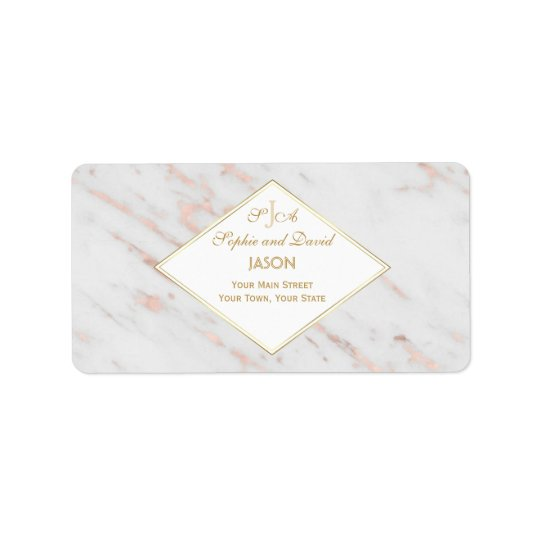 Diamond Rose Gold Marble Wedding Label