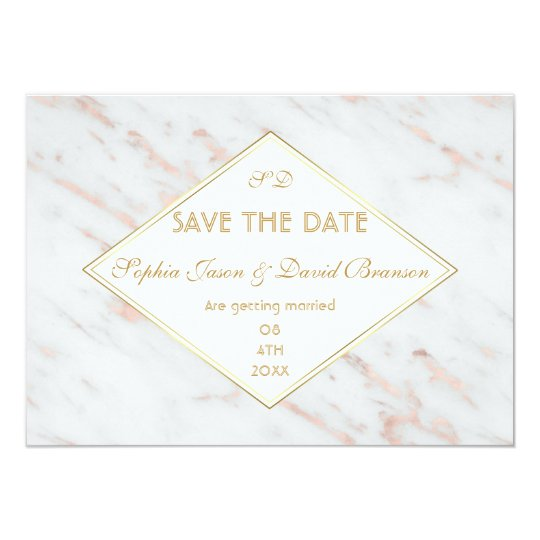 Diamond Rose Gold Marble Wedding SAVE THE DATE