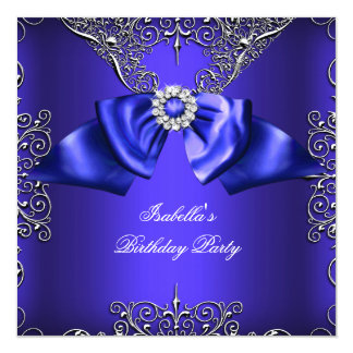 Diamond Royal Blue Purple Silver Elegant Birthday 13 Cm X 13 Cm Square Invitation Card