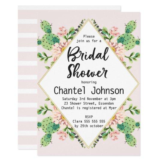 Diamond Shape Cactus Bridal Shower Invitation