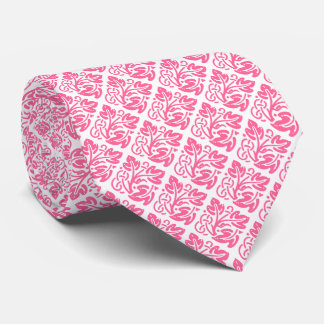 Diamond Shaped Pattern/Pink Leaf Tie