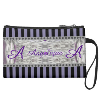 Diamond Shapes Black White Purple Initial and Name Suede Wristlet