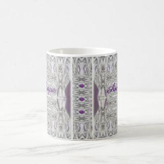 Diamond Shapes Black White Purple with Name Coffee Mug