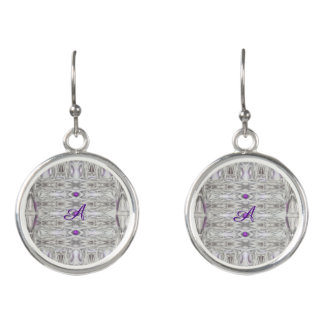 Diamond Shapes in Black White Purple with Initial Earrings