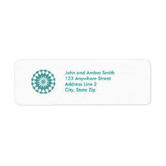 Diamond Shapes in Teal Turquoise, Mandala Address
