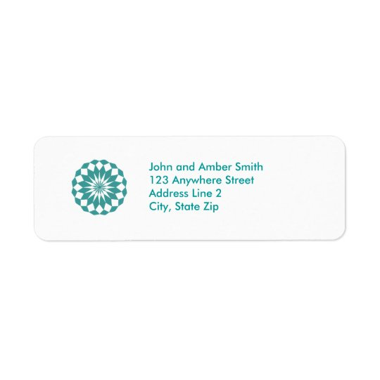 Diamond Shapes in Teal Turquoise, Mandala Address Return Address Label