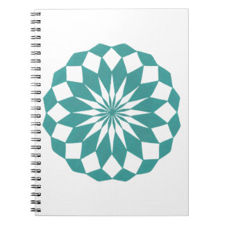 Diamond Shapes in Teal Turquoise, Mandala Notebook
