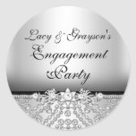 Diamond Silver & Black Engagement Party Sticker