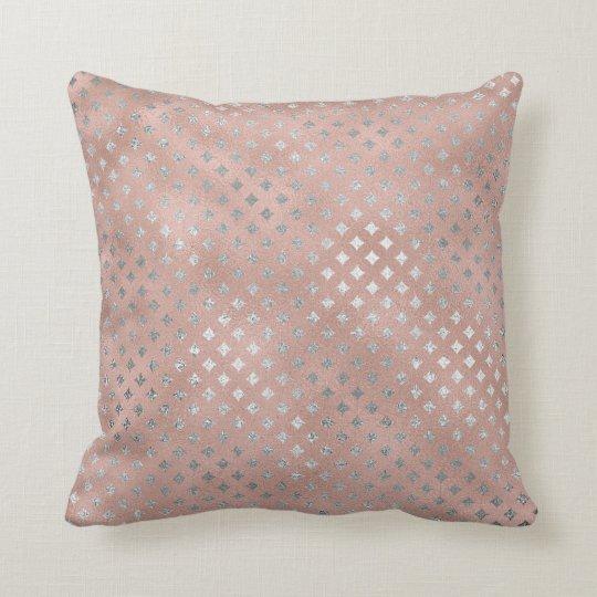 Diamond Silver Pink Rose Gold Powder Glass Cushion