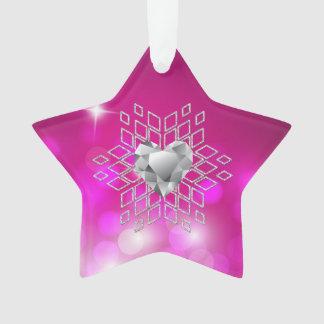 Diamond Snowflake Heart Fuschia