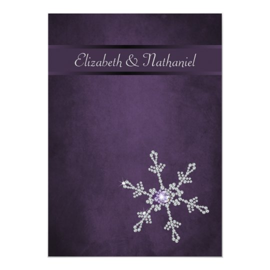 Diamond Snowflakes & Ribbon Wedding Invitation