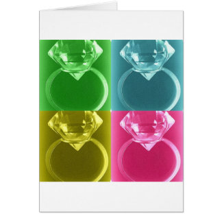 DIAMOND SOLITAIRE PASTEL COLLAGE PRINT CARD