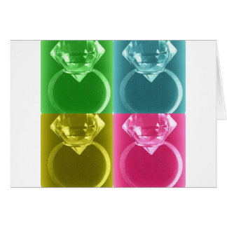 DIAMOND SOLITAIRE PASTEL COLLAGE PRINT GREETING CARD