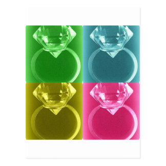 DIAMOND SOLITAIRE PASTEL COLLAGE PRINT POSTCARD