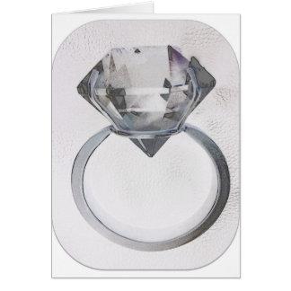 DIAMOND SOLITAIRE SOFT GRAY SKETCH PRINT GREETING CARD