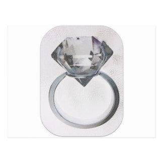 DIAMOND SOLITAIRE SOFT GRAY SKETCH PRINT POSTCARD