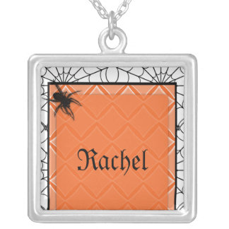 Diamond Spider Web Halloween Necklace