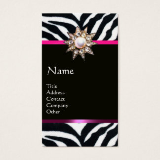 DIAMOND STAR PINK BLACK WHITE ZEBRA FUR MONOGRAM BUSINESS CARD