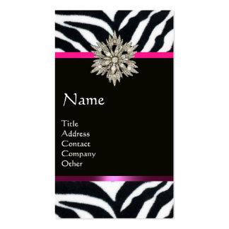 DIAMOND STAR PINK BLACK WHITE ZEBRA FUR MONOGRAM BUSINESS CARDS