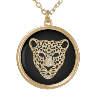 Diamond-Studded Jaguar Gold Plated Necklace