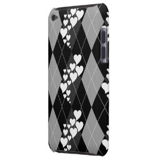 Diamond Swirling Hearts Argyle (Black And White) iPod Case-Mate Cases