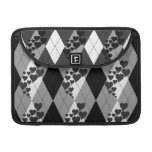 Diamond Swirling Hearts Argyle (Black And White) Sleeves For MacBooks