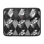 Diamond Swirling Hearts Argyle (Black And White) MacBook Pro Sleeve