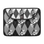 Diamond Swirling Hearts Argyle (Black And White) Sleeves For MacBook Pro