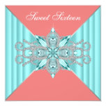 Diamond Turquoise Blue Coral Sweet 16 Birthday 13 Cm X 13 Cm Square Invitation Card