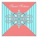 Diamond Turquoise Blue Coral Sweet 16 Birthday Custom Announcements