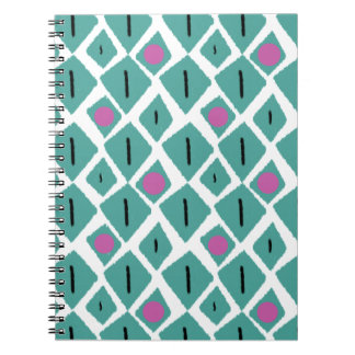 Diamond Turquoise with Pink Circles Pattern Spiral Notebooks