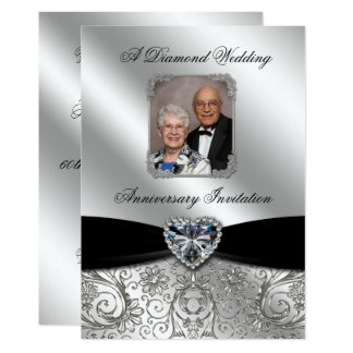 Diamond Wedding Anniversary 5x7 Photo Invite