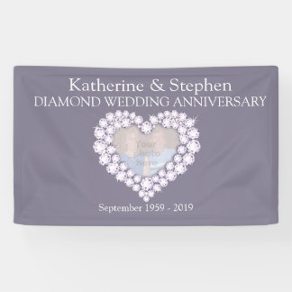 Diamond Wedding anniversary grey banner
