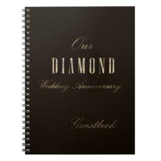 Diamond Wedding Anniversary Guest Book Gold Brown Note Book