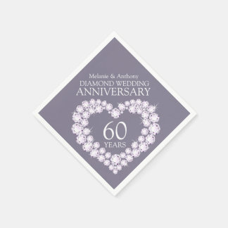Diamond Wedding Anniversary heart name napkins Disposable Serviette