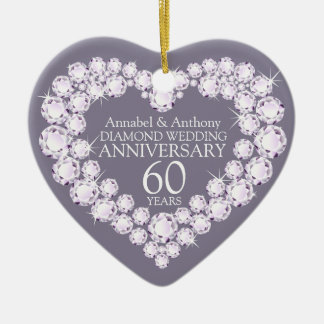 Diamond Wedding Anniversary heart ornament